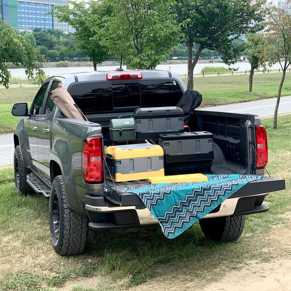 자동차 트렁크 정리함 접이식 더블로가 옐로우그레이 상품이미지