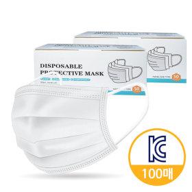 국내 인증 일회용마스크 100매 3중차단 필터 블루
