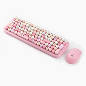 저소음 레트로 무선키보드마우스세트 RMK-5000 핑크