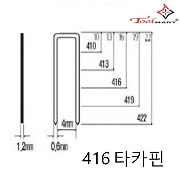 툴마트 전기 에어 타카용 416 철침 타카핀 1통 상품이미지