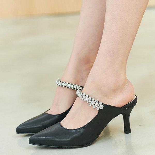 국내생산 7cm 큐빅 여성 구두 미들힐 뮬슬리퍼 샌들 상품이미지
