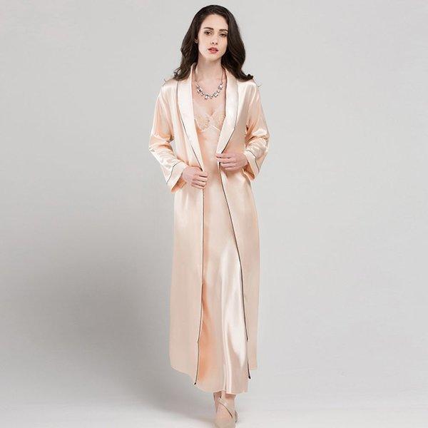 여성 섹시한 잠옷세트 슬림 롱원피스+롱가운 상품이미지