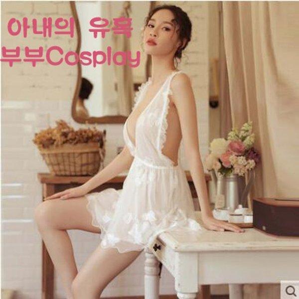 섹시한 V넥 잠옷세트 투명 레이스 인기 부부Cosplay 상품이미지