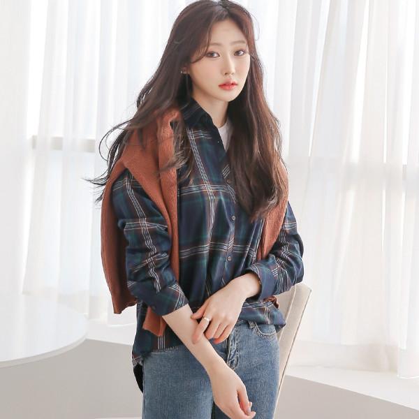 캐주얼 체크 긴팔 셔츠 남방 여성 여자 블라우스 W034 상품이미지