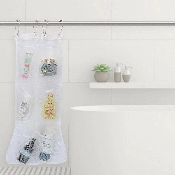 욕실 수납 다용도 용품 메쉬 화이트 6포켓 커튼봉걸이 상품이미지