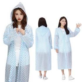 땡땡이 우비 블루/휴대용 일회용 판초우의 레인코트