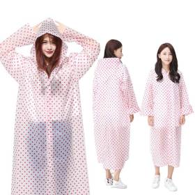 땡땡이 우비 핑크/휴대용 일회용 판초우의 레인코트