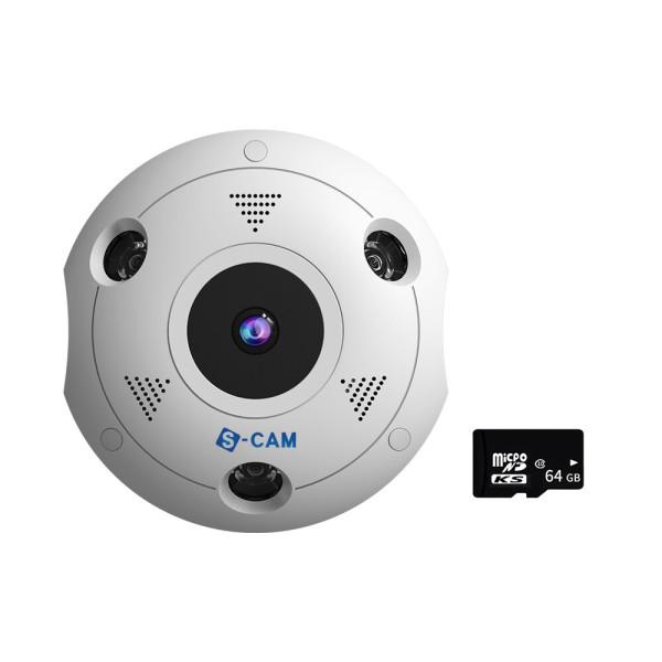 웹캠 홈캠 360도 IP 카메라 가정 회사용 CCTV S-CAM360 상품이미지