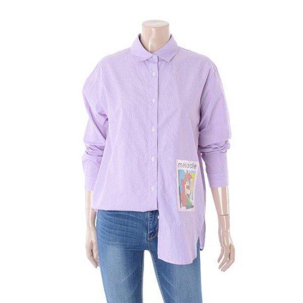 여성 앞판 프린팅 오버핏 스트라이프 셔츠 (FICSH852F) 상품이미지