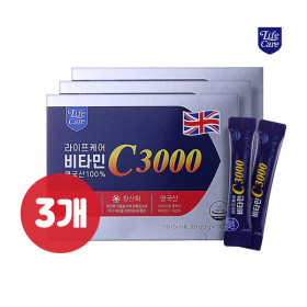 [라이프케어] 프리미엄 영국산 100% 메가도스 순수 비타민C3000 100포 x 3박스
