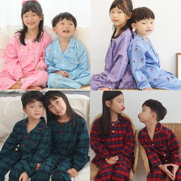 아동 어린이 키즈 초등학생 긴팔 잠옷 파자마 상품이미지