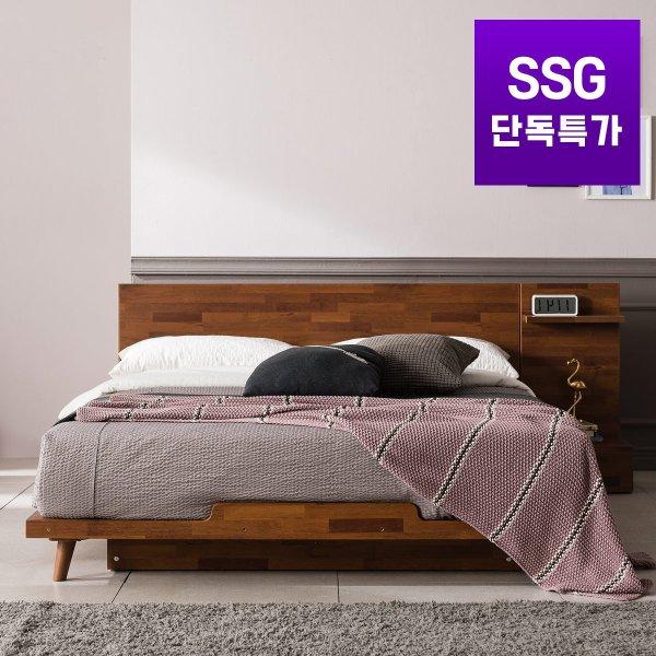 잉글랜더xSSG단독 로먼 멀바우 평상형 침대(매트제외-라지킹) 상품이미지