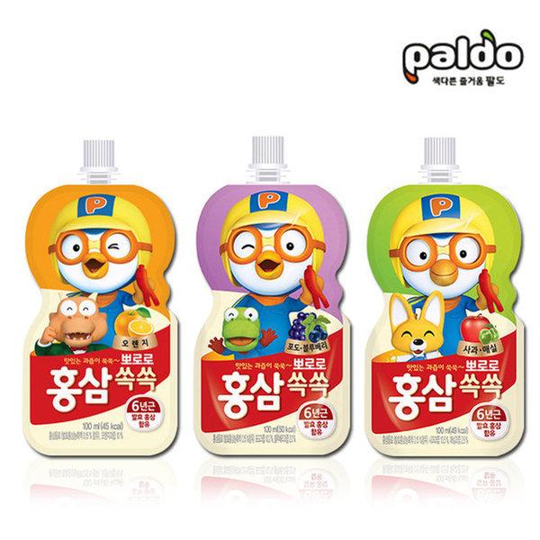 뽀로로 홍삼쏙쏙 100ml /어린이홍삼 오렌지 포블 사과 상품이미지