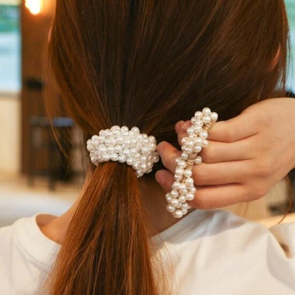 (갓샵) 진주 당고 곱창 머리끈 헤어끈 2color 상품이미지