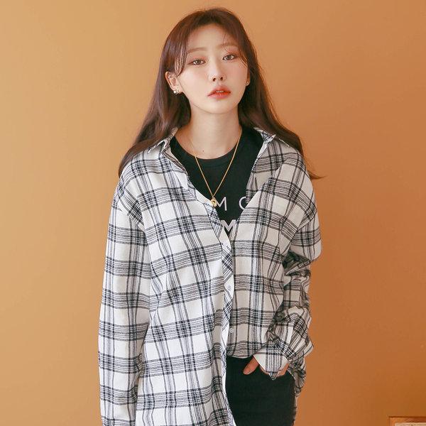 캐주얼 체크 긴팔 셔츠 남방 여성 여자 블라우스 W054 상품이미지