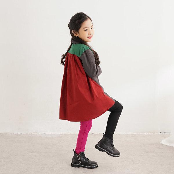 빌도르  아동 유아동 여아 배색 셔츠 원피스 상품이미지