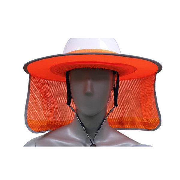 안전모용 그늘막-밴드형 1개 주황 형광 햇빛차단 상품이미지