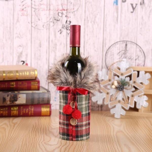 크리스마스 장식 와인 파우치 주머니 퍼 상의 체크 상품이미지