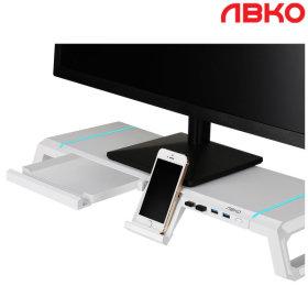 앱코 MES100 사이드폴딩 USB 3.0 모니터받침대 화이트