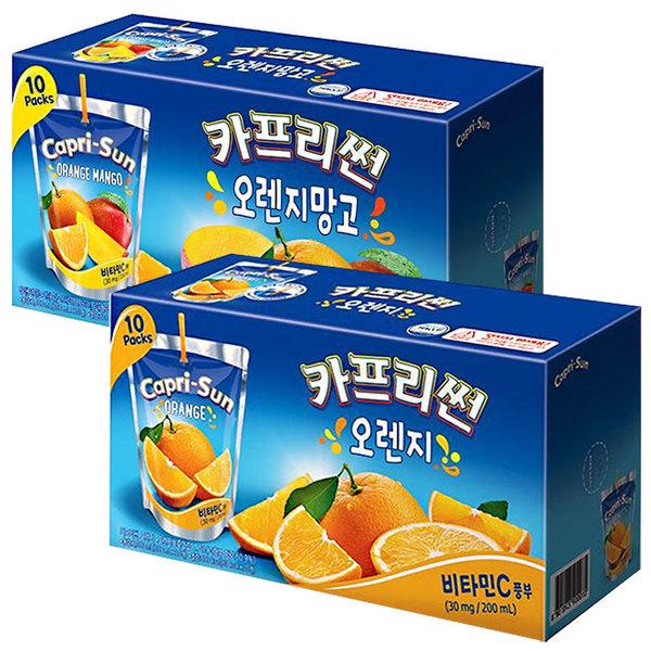 카프리썬 망고 10팩 + 오렌지 10팩 / 과일주스 음료수 상품이미지