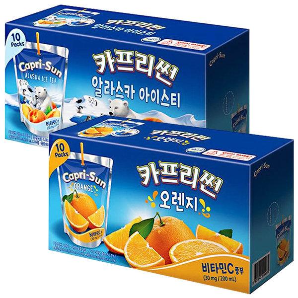 카프리썬 아이스티 10팩 + 오렌지 10팩 / 과일주스 상품이미지