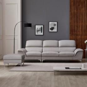 착불 카일리 4인용 천연면피 가죽소파+스툴 DF918664