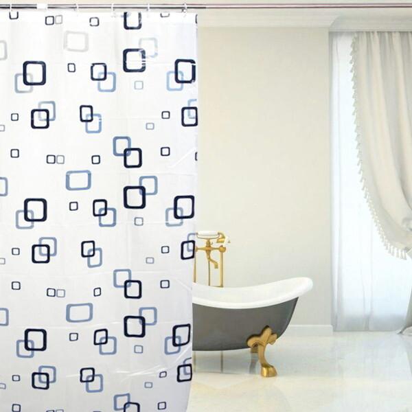 굿즈트리 스퀘어 패턴 샤워커튼(150x180cm) 상품이미지