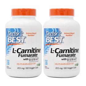 2개 Doctors BEST 엘 L 카르니틴 푸마르산 855 mg 180 베지캡슐