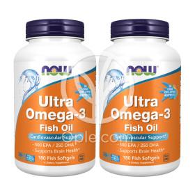 2개 Now Foods 울트라 오메가3 500 EPA 250 DHA 1000 mg 180 피쉬 소프트젤