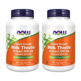 2개 Now Foods 실리마린 밀크씨슬 300 mg 더블 스트렝스 200 베지 캡슐