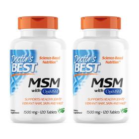 2개 Doctors BEST MSM 1500 mg 옵티 OptiMSM 조인트 120 타블렛