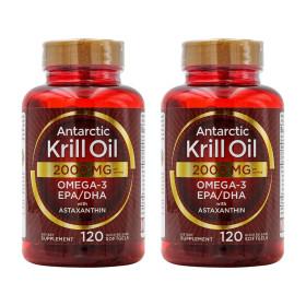 2개 Carlyle 크릴오일 아스타잔틴 오메가3 2000 mg 120 소프트젤