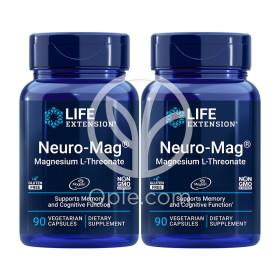 2개 Life Extension 뉴로 맥 트레온산 마그네슘 90 베지 캡슐