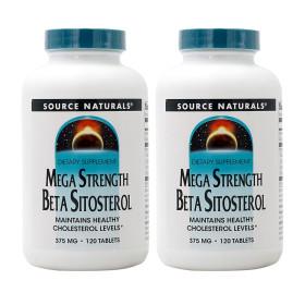 2개 Source Naturals 메가 스트렝스 베타시토스테롤 375 mg 120 타블렛