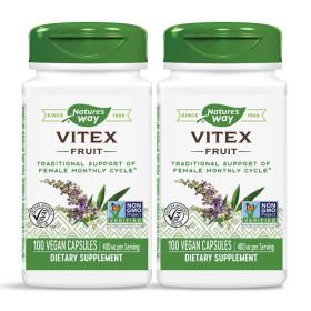 2개 Natures Way 바이텍스 후르츠 400 mg Vitex 100 베지 캡슐