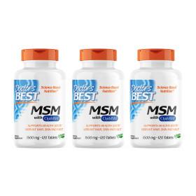 3개 Doctors BEST MSM 1500 mg 옵티 OptiMSM 조인트 120 타블렛