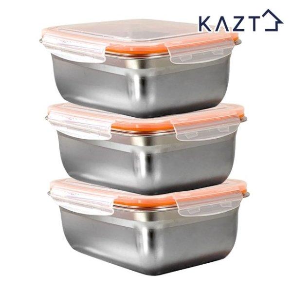 가쯔 냉장고정리 스텐 반찬 밀폐용기 4호 1800ml 3개 상품이미지