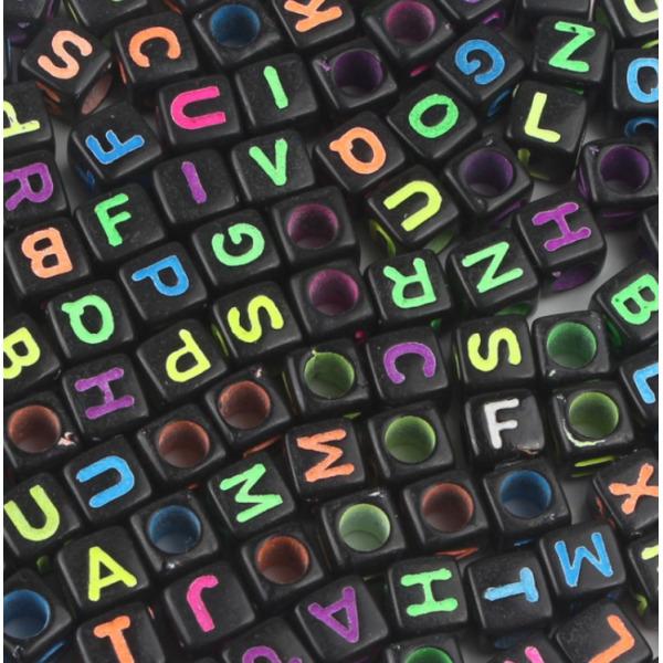 비즈 공예 사각블랙알파벳 만들기 재료 키링 팔찌 상품이미지