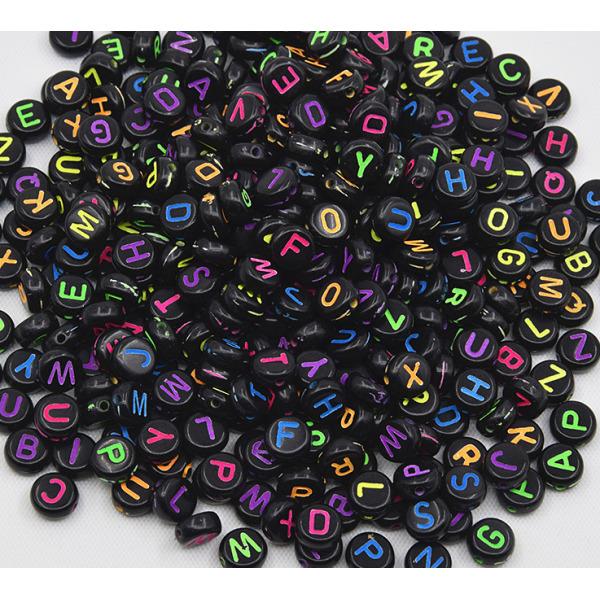 비즈 공예 원형블랙컬러알파벳 만들기 재료 키링 팔찌 상품이미지