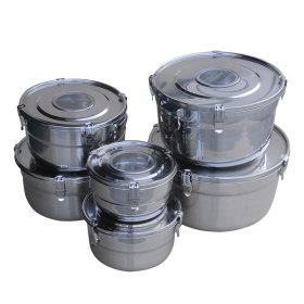 스텐 (보이는) 원형 김치통 (4호) 7.4L / 밀폐용기