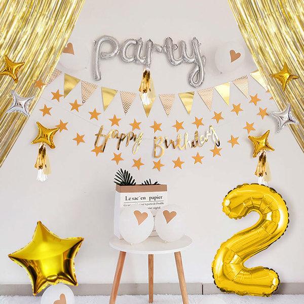 레터링태슬 생일세트 골드 숫자풍선0 데코 파티풍선 상품이미지