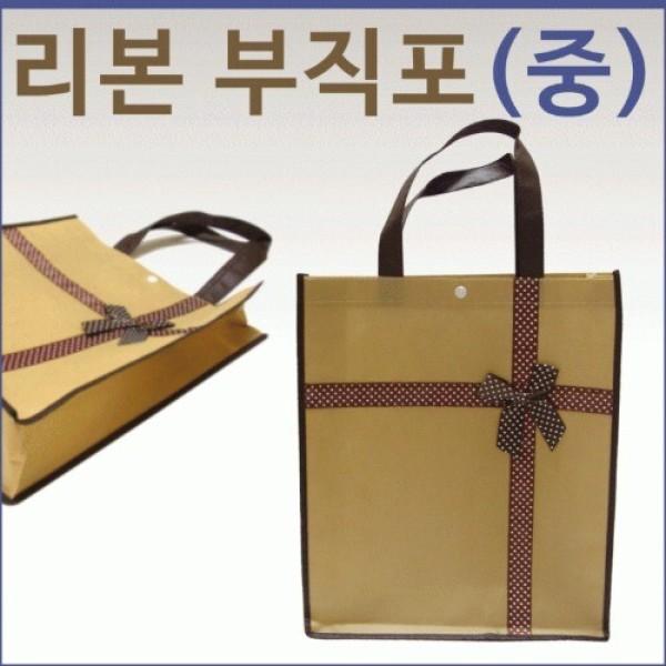 리본 부직포 보조 가방 (중) 유아동 장바구니 단체선 상품이미지