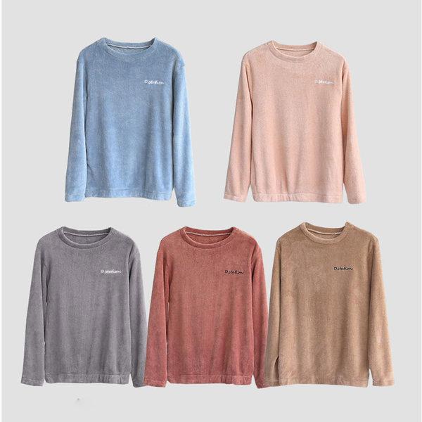 극세사 심플 잠옷(라운드상의) 홈웨어 수면 파자마 XL 상품이미지