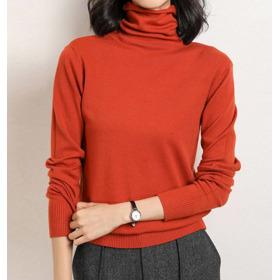여성 목폴라 루즈핏 베이직 기본 하이넥 니트