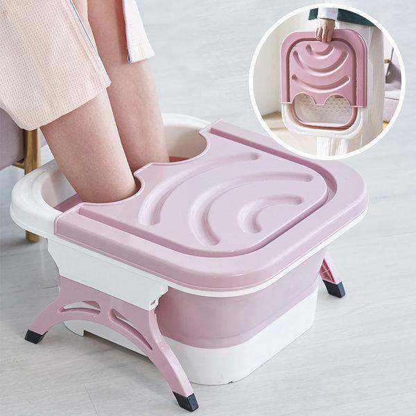 접이식 족욕기 휴대용 가정용 발마사지 각탕기 핑크 상품이미지
