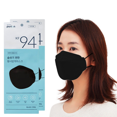 purion KF94 Black Large Easy-to-breath Mask 50 sheetsX2sets