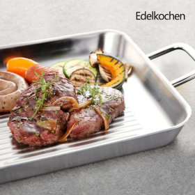 Edelkochen Whole 3-ply Prism Square Grill Frying Pan 24cm (Mirror)