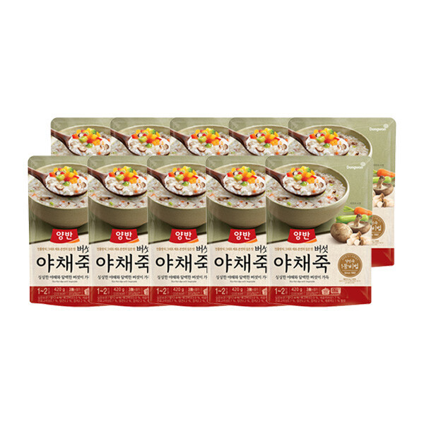 (현대Hmall) 동원  양반죽 버섯야채죽 420g X 10개 /파우치죽/즉석죽 상품이미지