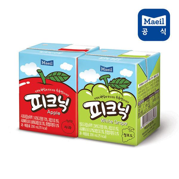 피크닉 사과+청포도 200ml 48팩/주스/과채/과즙/음료 상품이미지