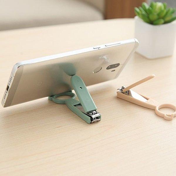 스마트폰 휴대폰 거치대 + 손톱깎이 2in1 스테인레스 상품이미지